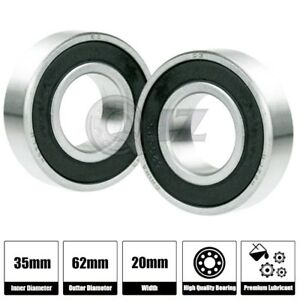 2x 63007 2rs Radial Ball Bearing Double Sealed 35mm X 62mm X 20mm Rubber Shield