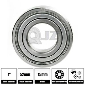 1x 6205 zz Ball Bearing 1 Inch X 52mm X 15mm Double Shielded Seal New Qjz Metal
