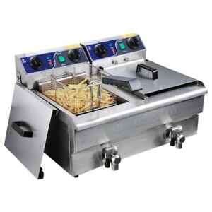 Commercial Deep Fryer Stainless Steel Electric Counter Top Fryer With Drain