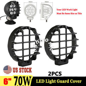 2x Black Stone Guard Cover For 6 Inch 70w Round Led Work Light Lamp Offroad Suv