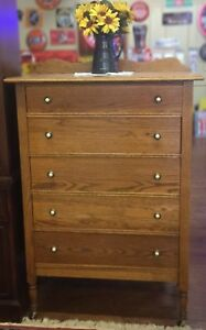 5 Drawer Quarter Sawn Oak Chest With Enamel Brass Pulls