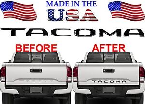 Gloss Black Abs Plastic Tailgate Letter Inserts For 2016 2018 Toyota Tacoma New