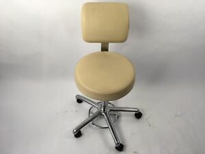 Office Master Doctor Exam Stool With Back Adjustable Sesame Spice