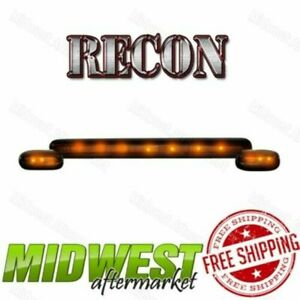 Recon Smoke Cab Roof Lights W Amber Leds For 07 13 Sierra Silverado 1500