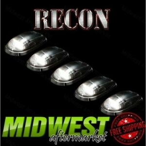 Recon 5pc Clear Cab Light Kit With White Leds Fits 2003 2016 Dodge Ram 2500 3500