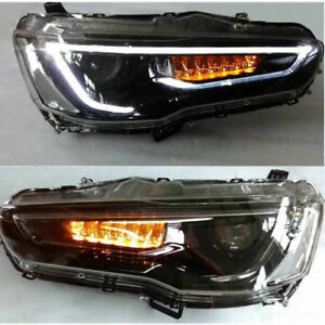 Led Headlights For Mitsubishi Lancer Evo 2008 2017 Set 2 Audi Look Blackout