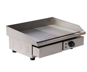 3kw 55cm Electric Griddle Grill Hot Plate Stainless Steel Commercial Bbq Grill U