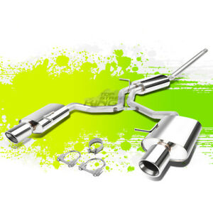 4 Stainless Steel Dual Slant Tip Catback Exhaust For 06 09 Audi A4 2 0l Turbo