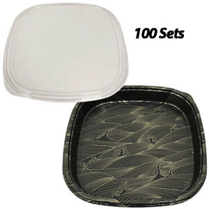 Party Trays Large 14 1x14 1x2 100 Sets Plastic Sushi Box takeout to Go