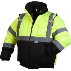 Pyramex Class 3 Reflective Safety Bomber Jacket With Quilted Liner Green