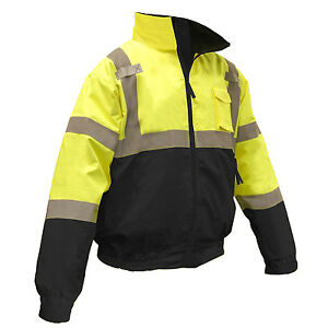 Radians Class 3 Reflective Safety Bomber Jacket With Fleece Liner Hi vis Green