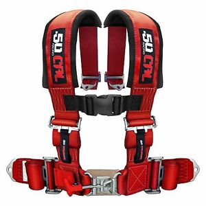 50 Caliber Racing Universal Seat Belt Harness 4 Point Red Quick Release Jdm
