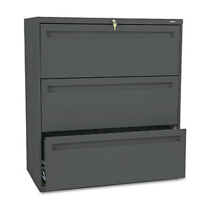 Hon 700 Series Three drawer Lateral File 36w X 19 1 4d Charcoal 783ls