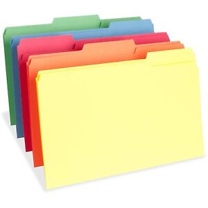 Business Source Color File Folders Legal 11pt 1 3 Cut 1 Exp 100 bx Ast 65781