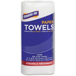 Genuine Joe Paper Towels Roll 2 ply 100 Sheets roll 11 x9 24rl ct We 24081