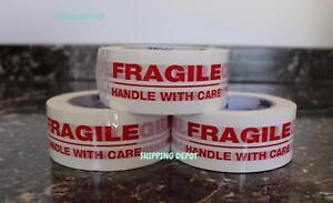 1 48 3x110 Rolls Fragile Handle With Care Security Carton Packing Tape 3 110yds