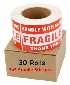 30 Rolls 3x5 Fragile Stickers Handle With Care Thank You Shipping Label 500 roll