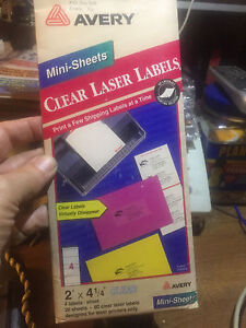 Avery 2663 Clear Laser Labels Mini Sheets 2 x4 1 4 new