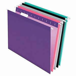 Pendaflex Reinforced Hanging Folders Letter Size Assorted Jewel tone Colors