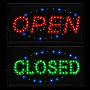 19x10 Flashing Led Neon Light Business Sign Open Close 2 In 1 Cafe Bar