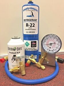 R22 A C Refrigeration Recharge Kit Gauge Pro Seal Xl4 Leak Stop Kit