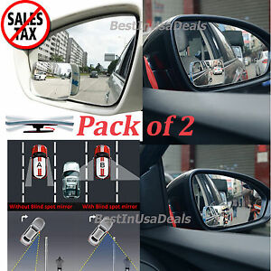 Adjustable Blind Spot Mirror Wide Angle Rear View Car Side Mirror 3m Adhesive 2p