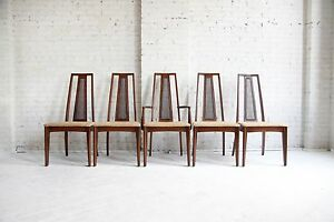 Mid Century Modern Broyhill Emphasis Dining Chairs With Caning Set Of 5