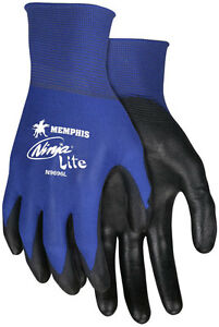 12 Pair Memphis Ninja Nylon Work Gloves With Polyurethane Coated Palm Small