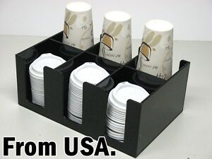 Coffee Cup And Lid Dispenser Holder Caddy Organizer Maker Condiment Office Rack