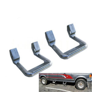 For Ford F150 F250 Universal Aluminum Adjustable Side Step Pair Silver