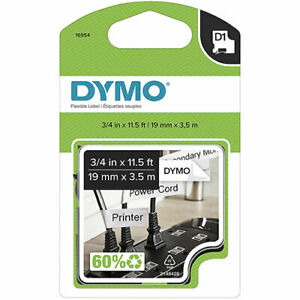 Dymo Dym16954 Labelmanager 400 D1 Label Maker Tape 3 4in X 12ft Black On White