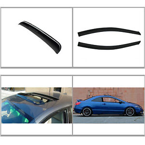 3pcs Front Vent Shade Window sun moon Roof Visors Fit 06 11 Civic 2 door Coupe