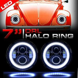 Round Halo Pro Projector Black Headlights Upgrade For Vw Beetle Classic