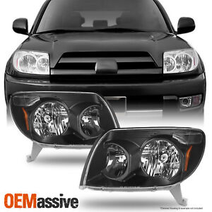 Fits 03 05 Toyota 4runner Black Headlights Lamps Replacement Pair 2003 2005