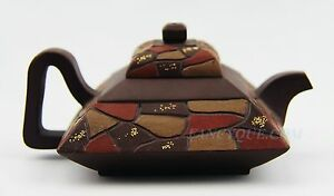 Chinese Yixing Zisha Clay Pottery Artistic Square Teapot And Cover 3