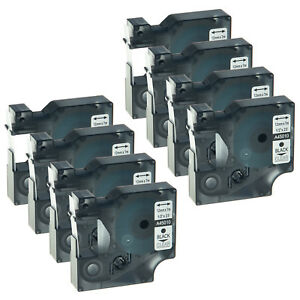 8 Pack Black On Clear Label Tape For Dymo D1 45010 Labelmanager 420p 1 2 12mm