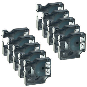 10pk Black On Clear Label Tape For Dymo D1 45010 Labelmanager 220p 160 260 1 2
