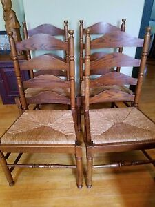 Set Of 4 Tall Ladder Back Four Rung Rush Cane Seat Side Chairs Solid Wood Nice