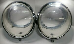 Pair 1950 1967 Vw Bug Bus Headlight Assembly Bucket W Fluted Lens Set Of 2