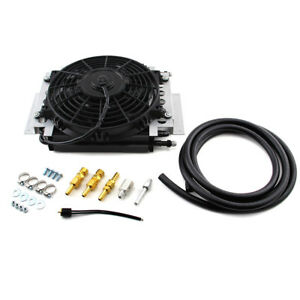 New Aluminum External Transmission Fluid Oil Cooler With 10 Electric Fan Towing