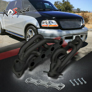 5 4 330 Black Coated Steel Header Exhaust For 97 01 Ford F150 f250 expedition V8