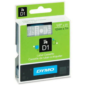 Dymo Dym45020 Labelpoint 200 D1 Label Tape 1 2 X 23 Ft White On Clear