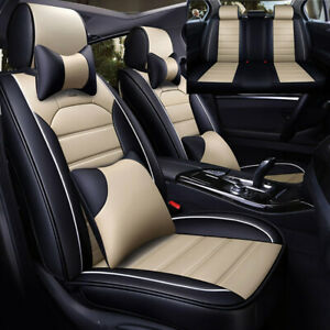 Us 5 Seats Car Seat Cover Front Rear Cushion Pu Leather Cooling Mesh W Pillows
