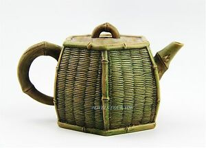 Chinese Yixing Zisha Clay Artistic Light Brown Bamboo Basket Teapot