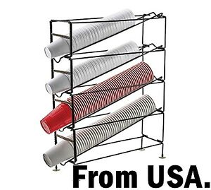 Coffee Cup Dispenser Mug Rack 4 Tier Holder Organizer Station Office Caddy Tea