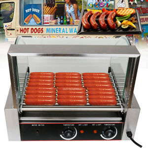 Commercial 24 Hot Dog Hotdog 9 Roller Grill Cooker Machine W Cover