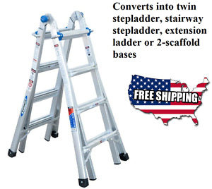 Werner 17 ft Ladder Aluminum 300 lb Telescoping Type Ia Multi position Scaffold