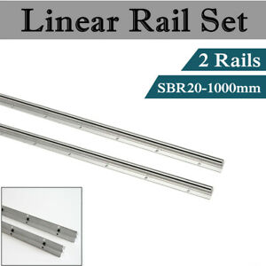 2pcs Sbr20 20mm Linear Bearing Rail 1000mm Linear Bearing Slide Silver