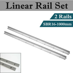 2pcs New Sbr16 16mm Linear Bearing Rail 1000mm Linear Bearing Slide Silver