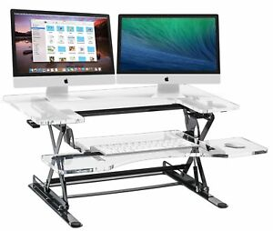 Halter Acrylic Preassembled Height Adjustable Sit Stand Elevating Desktop